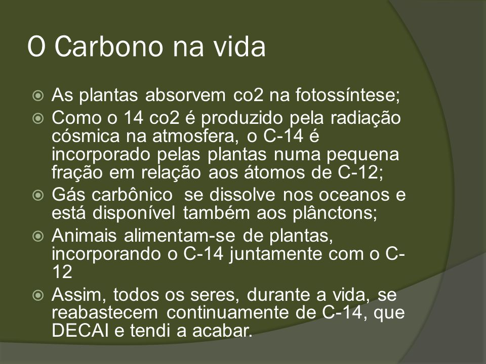 O Carbono na vida As plantas absorvem co2 na fotossíntese;