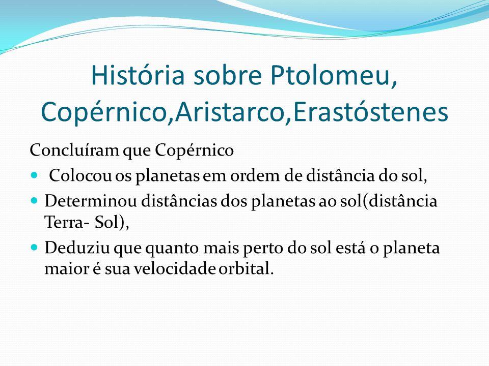 História sobre Ptolomeu, Copérnico,Aristarco,Erastóstenes
