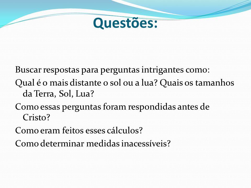 Questões: Buscar respostas para perguntas intrigantes como: