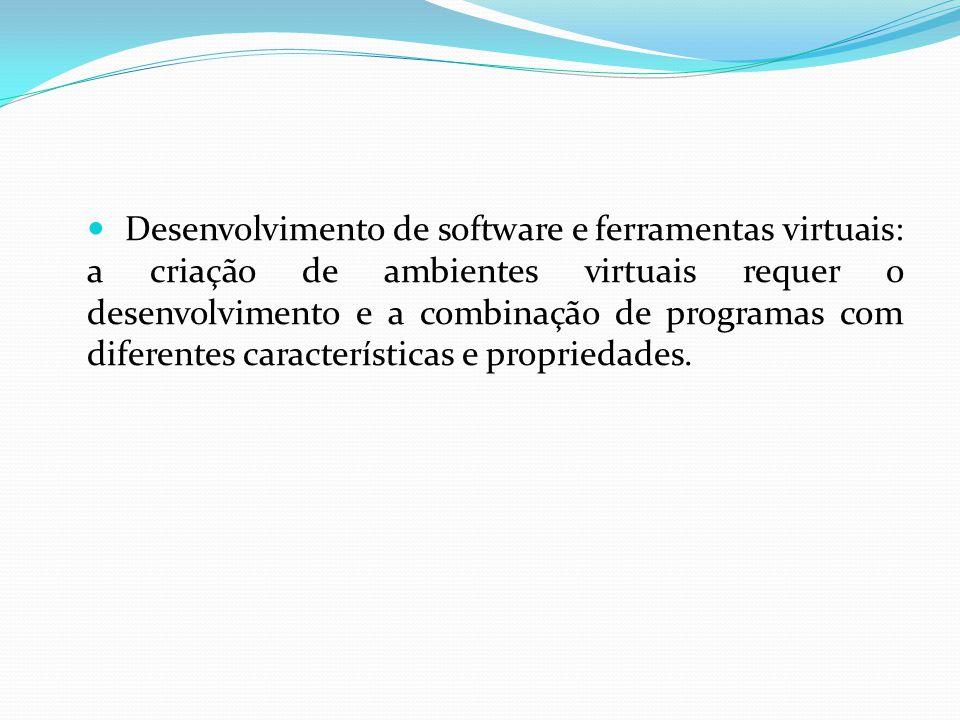 Desenvolvimento de software e ferramentas virtuais: a criação de ambientes virtuais requer o desenvolvimento e a combinação de programas com diferentes características e propriedades.