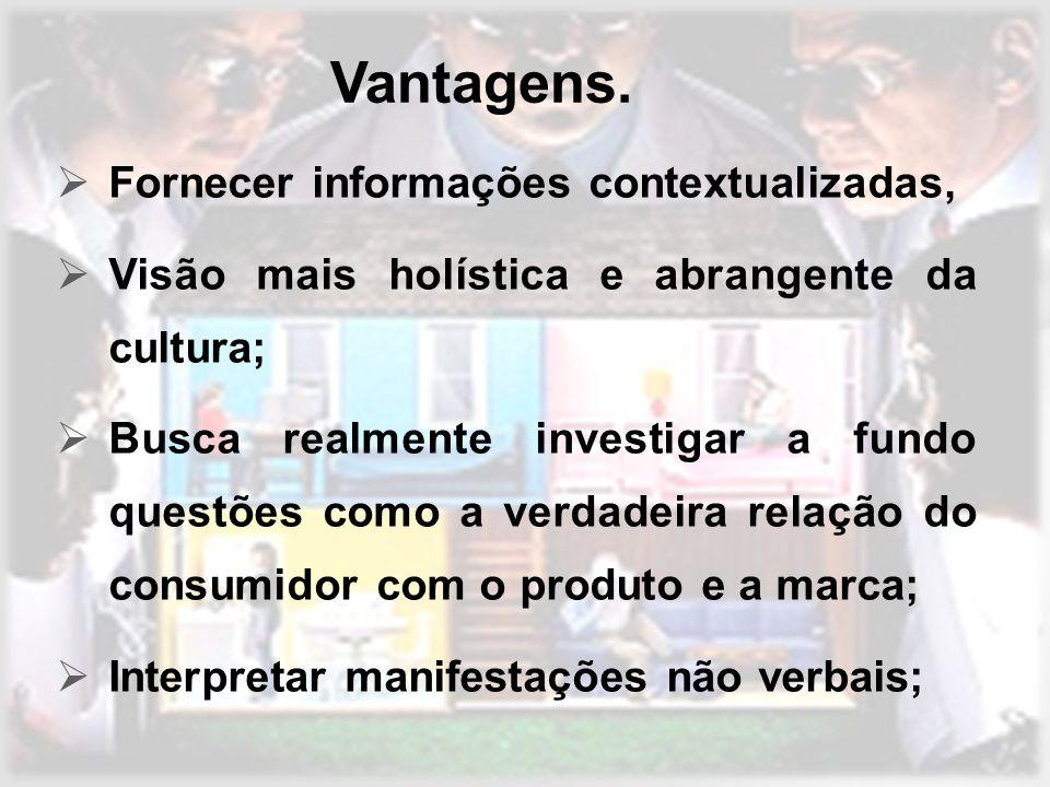 Vantagens. Fornecer informações contextualizadas,