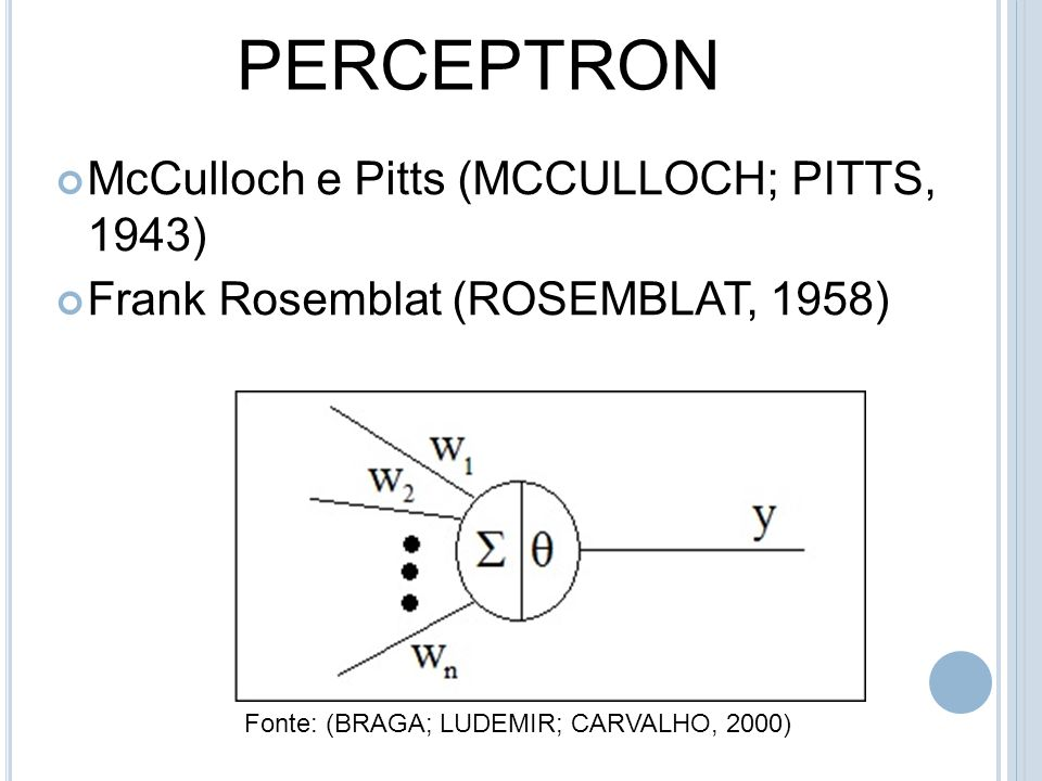 PERCEPTRON McCulloch e Pitts (MCCULLOCH; PITTS, 1943)