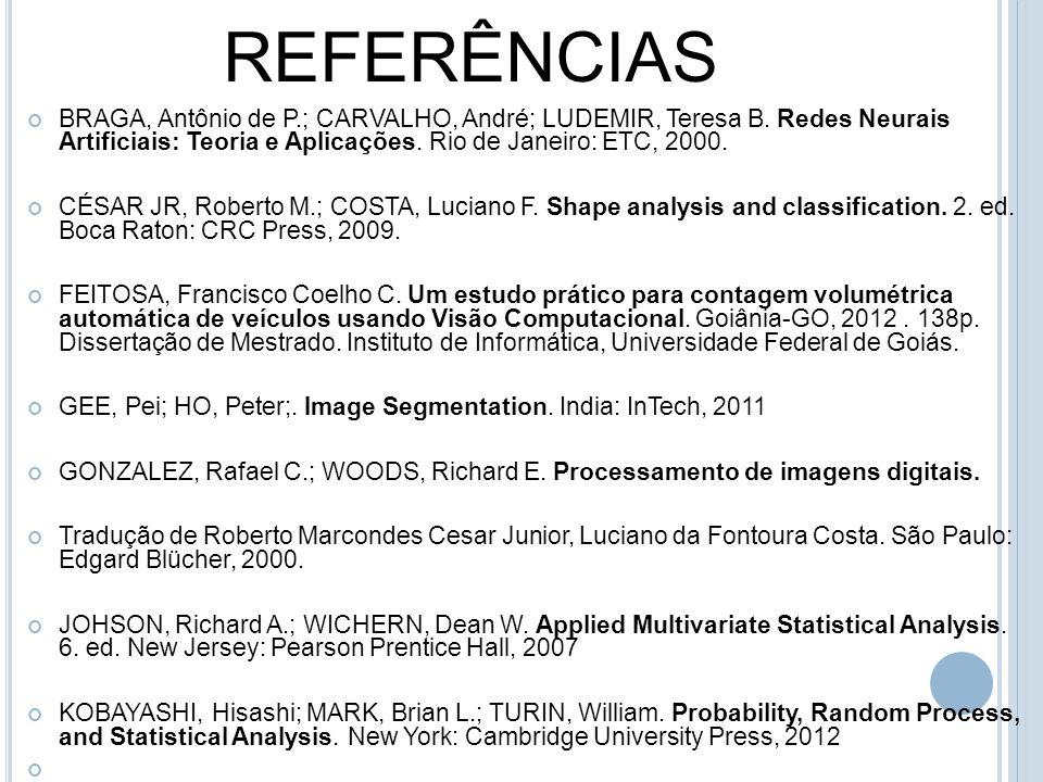 REFERÊNCIAS BRAGA, Antônio de P.; CARVALHO, André; LUDEMIR, Teresa B. Redes Neurais Artificiais: Teoria e Aplicações. Rio de Janeiro: ETC, 2000.