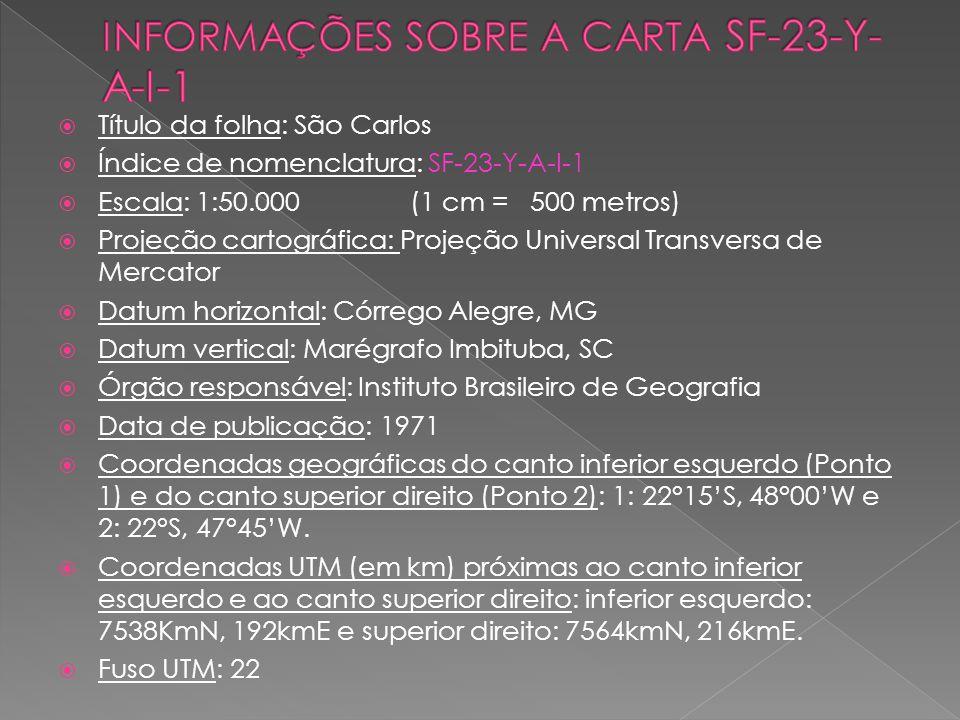 INFORMAÇÕES SOBRE A CARTA SF-23-Y-A-I-1