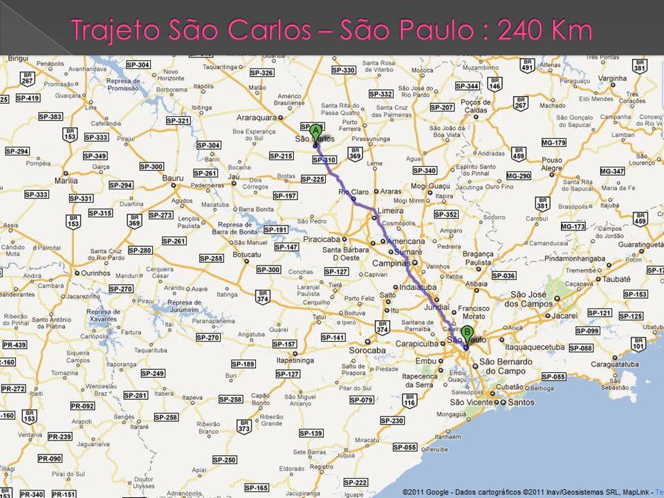 Trajeto São Carlos – São Paulo : 240 Km