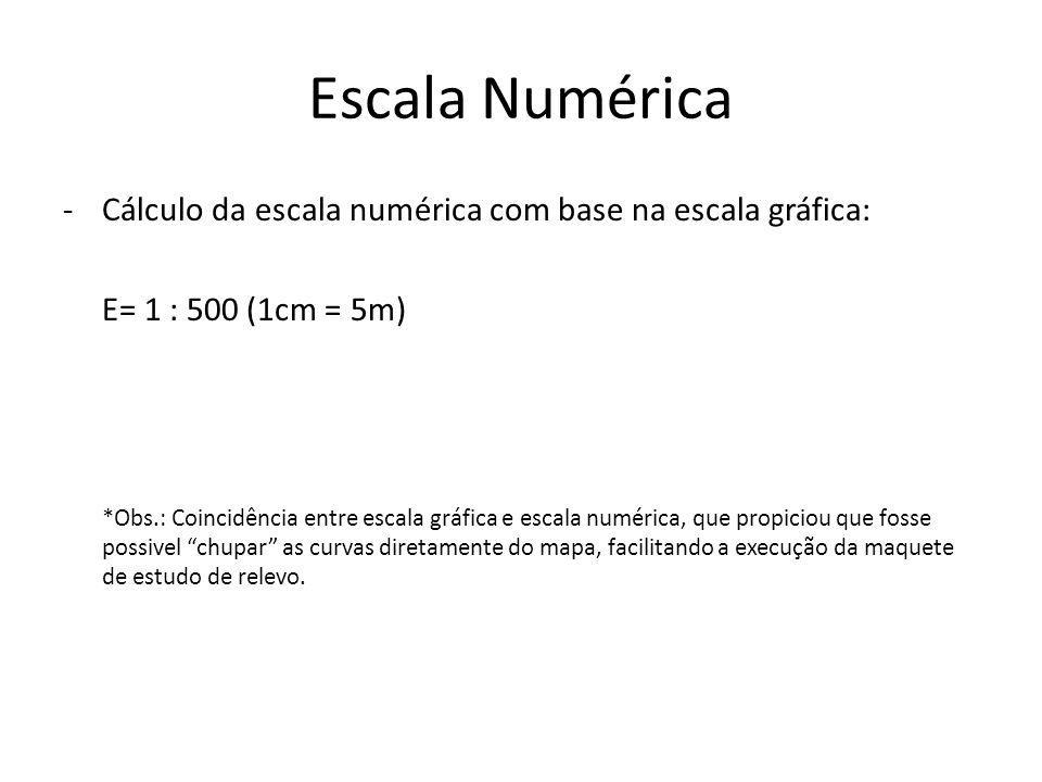 Escala Numérica Cálculo da escala numérica com base na escala gráfica: