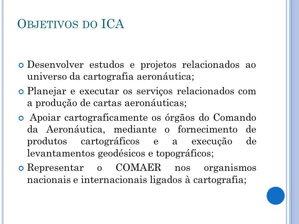 Objetivos do ICA Desenvolver estudos e projetos relacionados ao universo da cartografia aeronáutica;