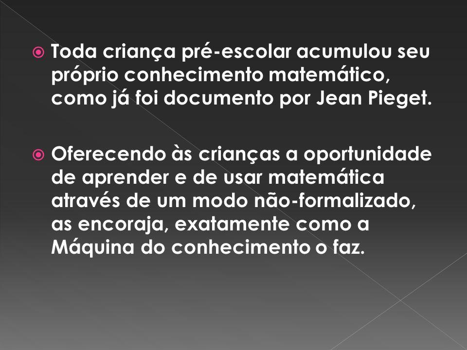 Toda criança pré-escolar acumulou seu próprio conhecimento matemático, como já foi documento por Jean Pieget.