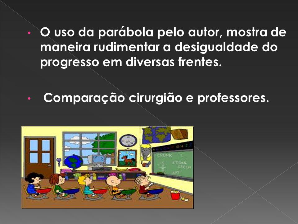 O uso da parábola pelo autor, mostra de maneira rudimentar a desigualdade do progresso em diversas frentes.