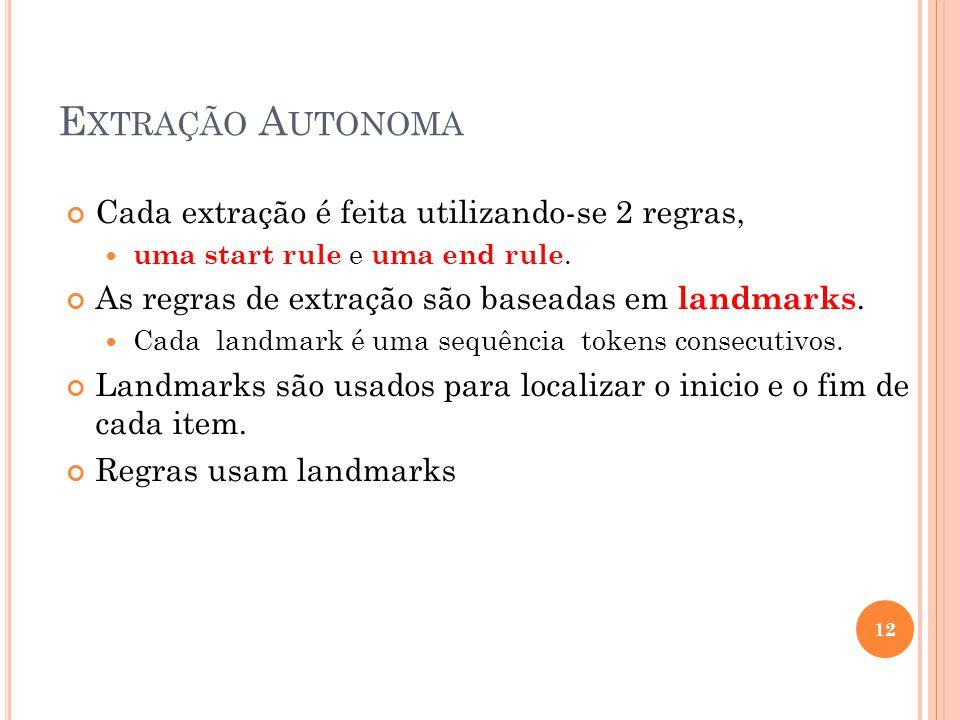 Extração Autonoma Cada extração é feita utilizando-se 2 regras,