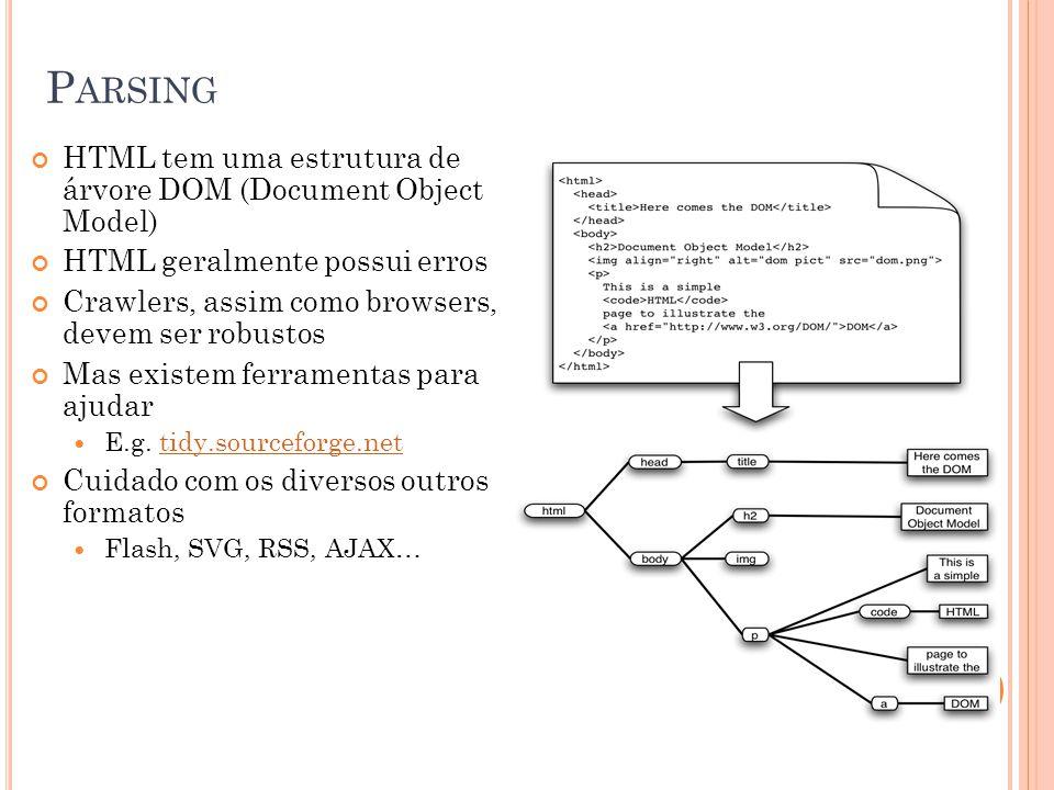 Parsing HTML tem uma estrutura de árvore DOM (Document Object Model)