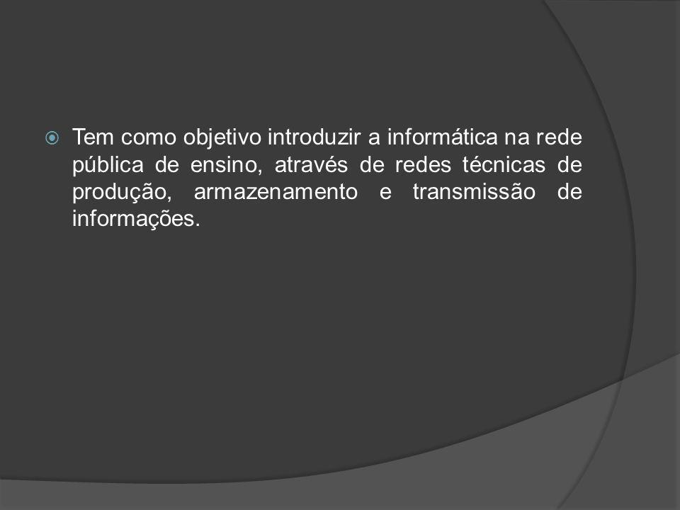 Tem como objetivo introduzir a informática na rede pública de ensino, através de redes técnicas de produção, armazenamento e transmissão de informações.