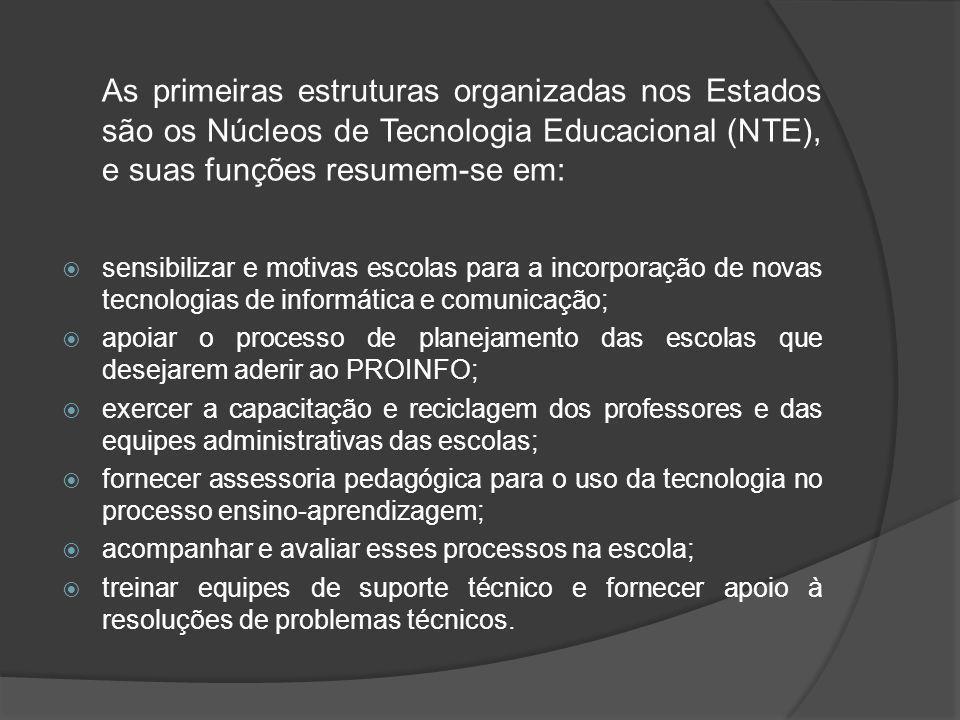 As primeiras estruturas organizadas nos Estados são os Núcleos de Tecnologia Educacional (NTE), e suas funções resumem-se em: