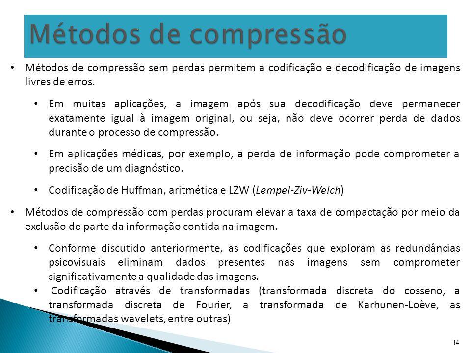 Métodos de compressão Métodos de compressão sem perdas permitem a codificação e decodificação de imagens livres de erros.