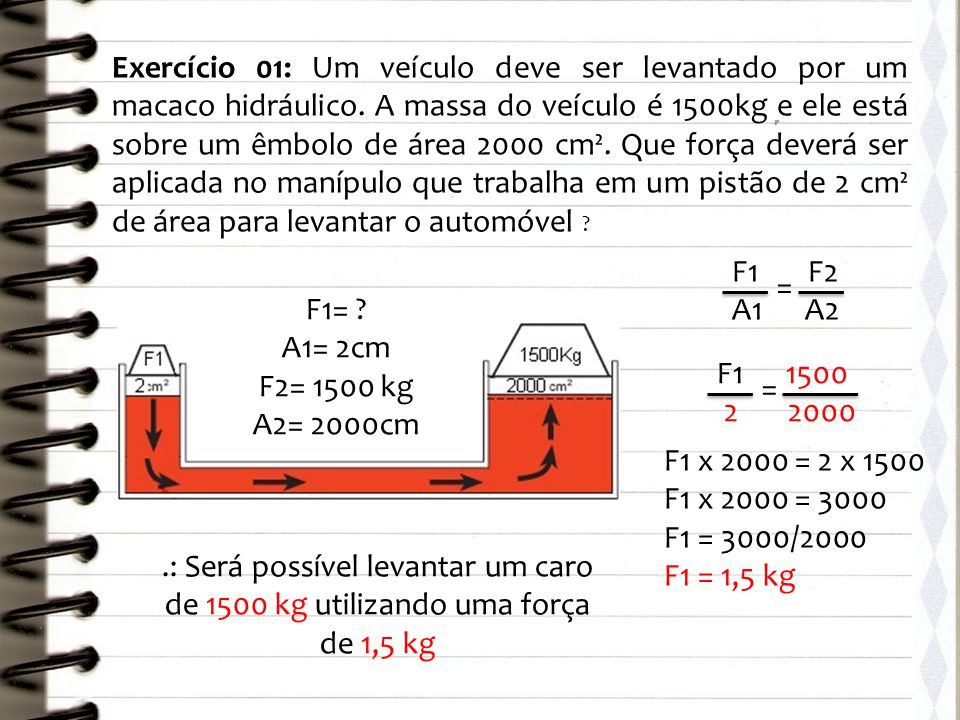 Exercício 01: Um veículo deve ser levantado por um macaco hidráulico
