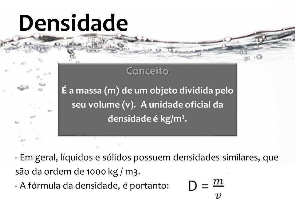 Densidade Conceito É a massa (m) de um objeto dividida pelo