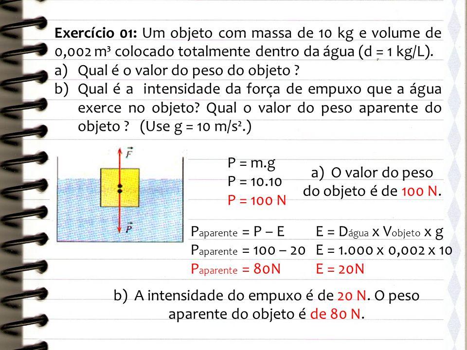 a) O valor do peso do objeto é de 100 N.