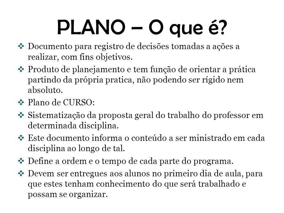 PLANO – O que é Documento para registro de decisões tomadas a ações a realizar, com fins objetivos.