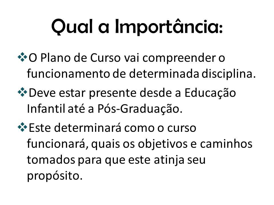 Qual a Importância: O Plano de Curso vai compreender o funcionamento de determinada disciplina.