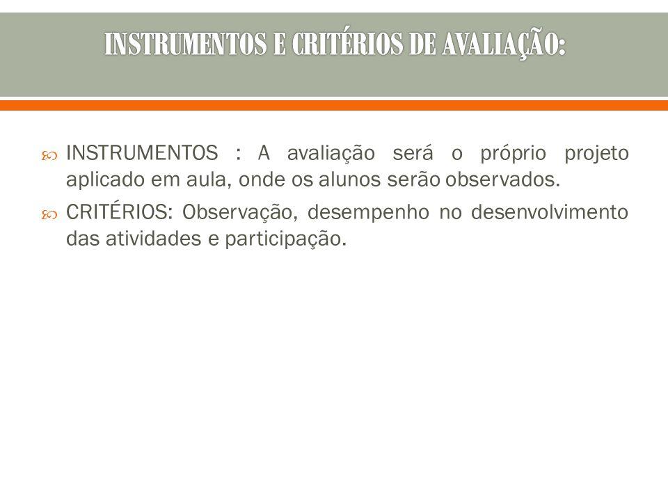 INSTRUMENTOS E CRITÉRIOS DE AVALIAÇÃO: