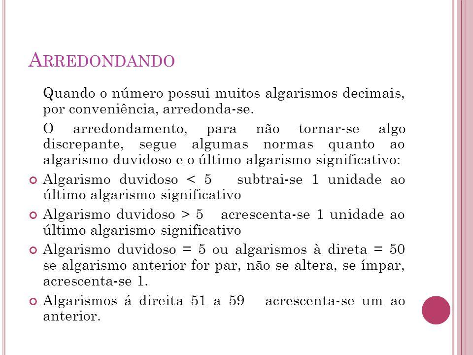 Arredondando Quando o número possui muitos algarismos decimais, por conveniência, arredonda-se.