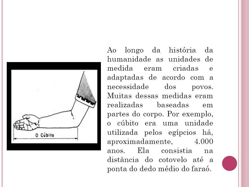 Ao longo da história da humanidade as unidades de medida eram criadas e adaptadas de acordo com a necessidade dos povos.