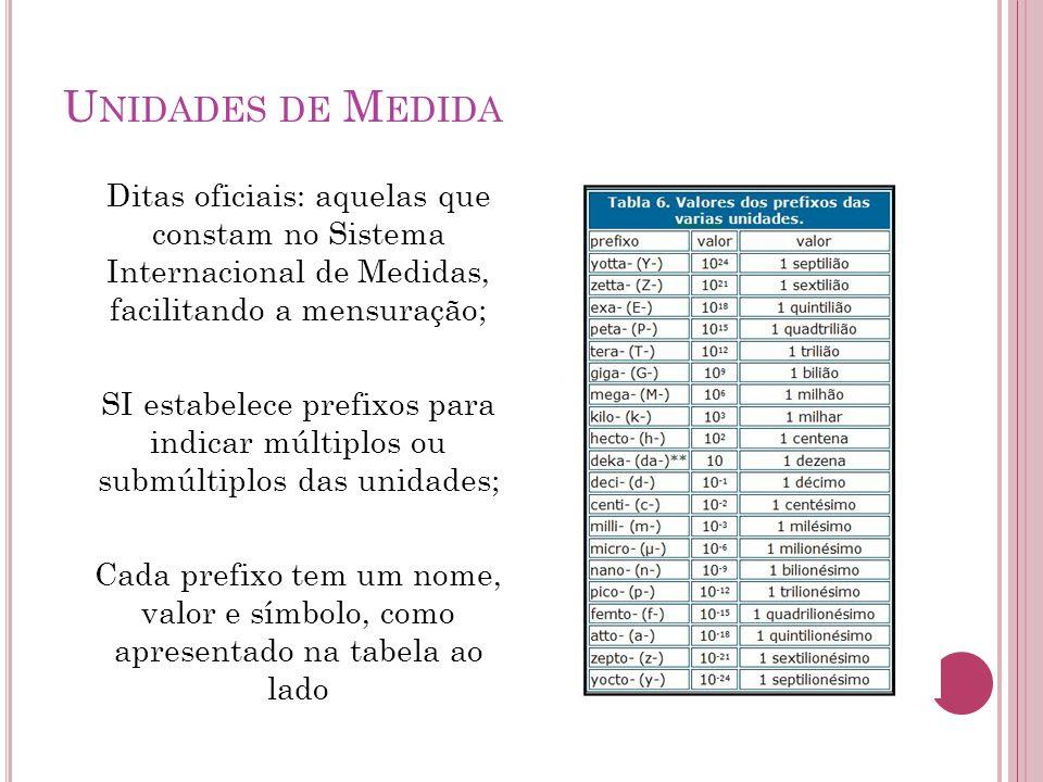Unidades de Medida Ditas oficiais: aquelas que constam no Sistema Internacional de Medidas, facilitando a mensuração;
