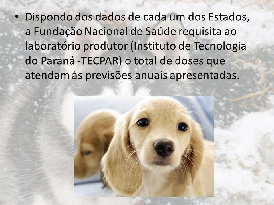 Dispondo dos dados de cada um dos Estados, a Fundação Nacional de Saúde requisita ao laboratório produtor (Instituto de Tecnologia do Paraná -TECPAR) o total de doses que atendam às previsões anuais apresentadas.
