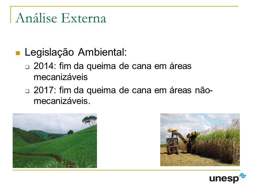 Análise Externa Legislação Ambiental: