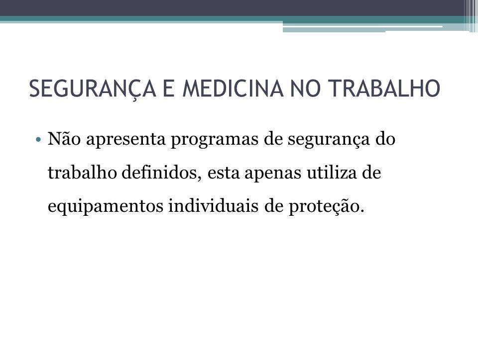 SEGURANÇA E MEDICINA NO TRABALHO