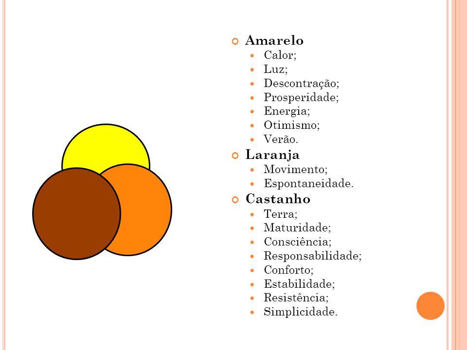 Amarelo Laranja Castanho Calor; Luz; Descontração; Prosperidade;