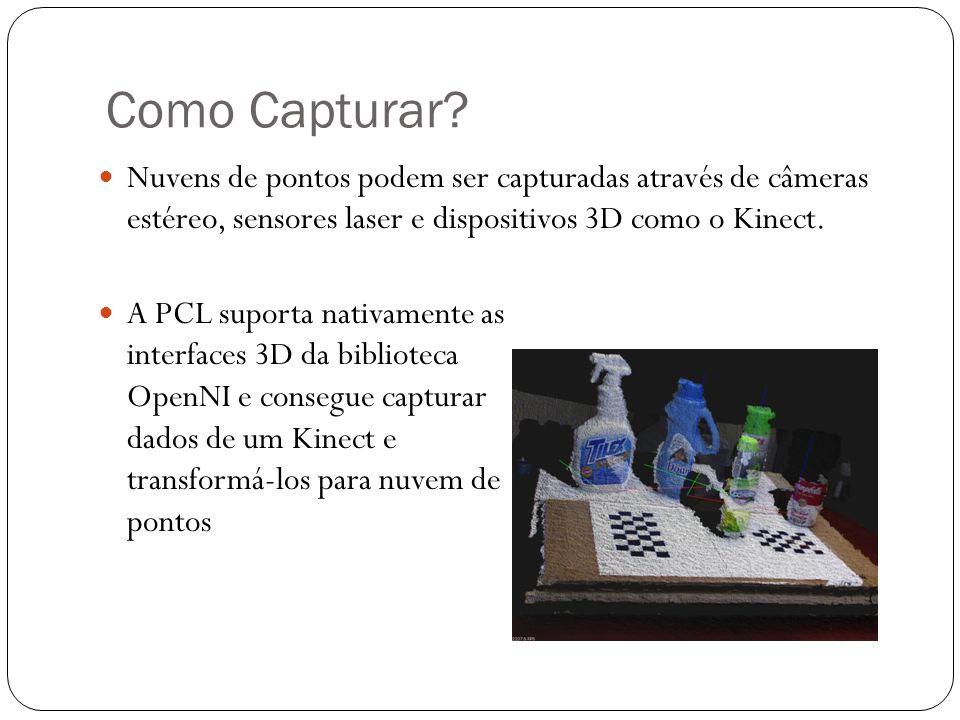 Como Capturar Nuvens de pontos podem ser capturadas através de câmeras estéreo, sensores laser e dispositivos 3D como o Kinect.