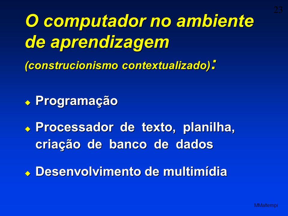 O computador no ambiente de aprendizagem (construcionismo contextualizado):
