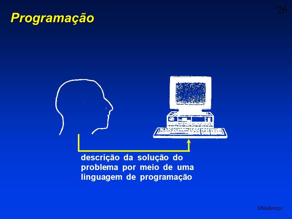 Programação descrição da solução do problema por meio de uma linguagem de programação