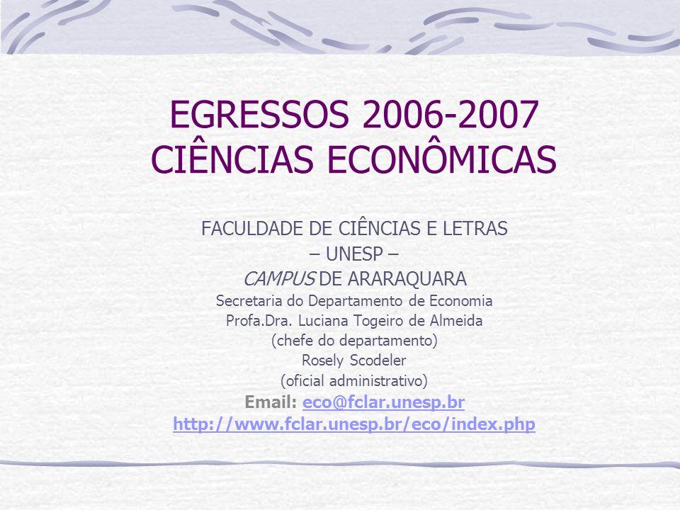 EGRESSOS 2006-2007 CIÊNCIAS ECONÔMICAS