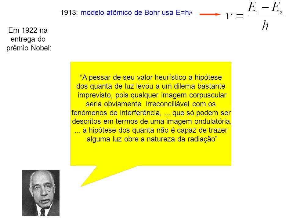 1913: modelo atômico de Bohr usa E=h