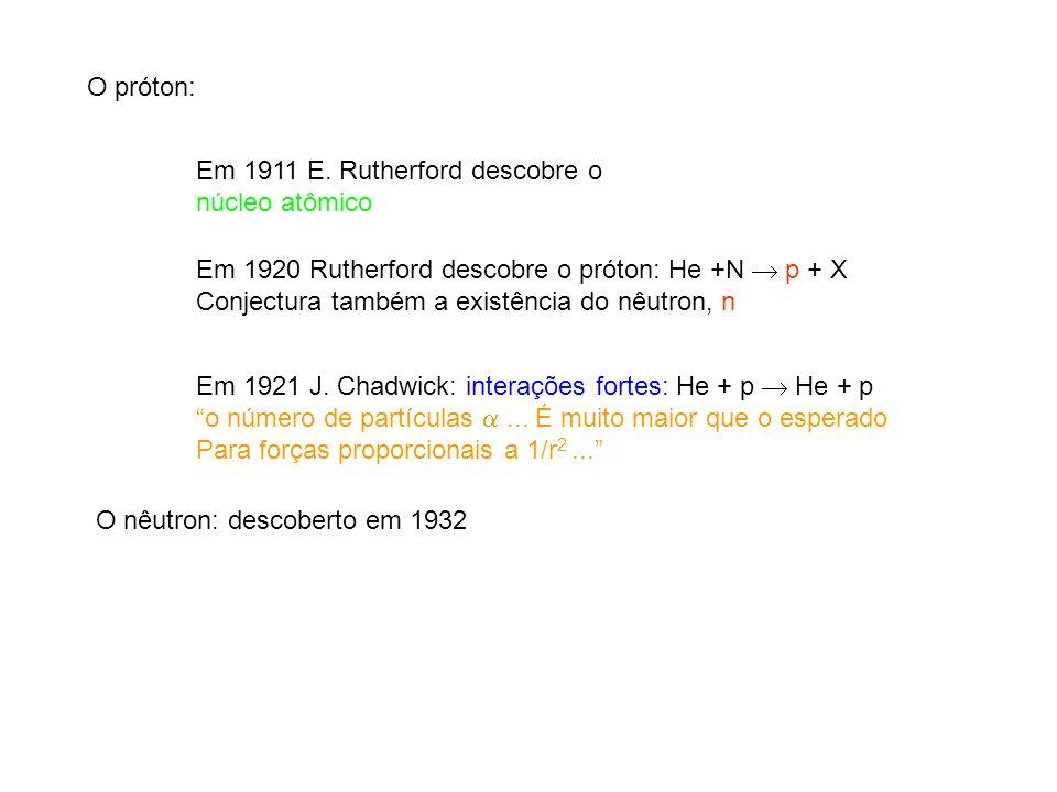 O próton: Em 1911 E. Rutherford descobre o. núcleo atômico. Em 1920 Rutherford descobre o próton: He +N  p + X.