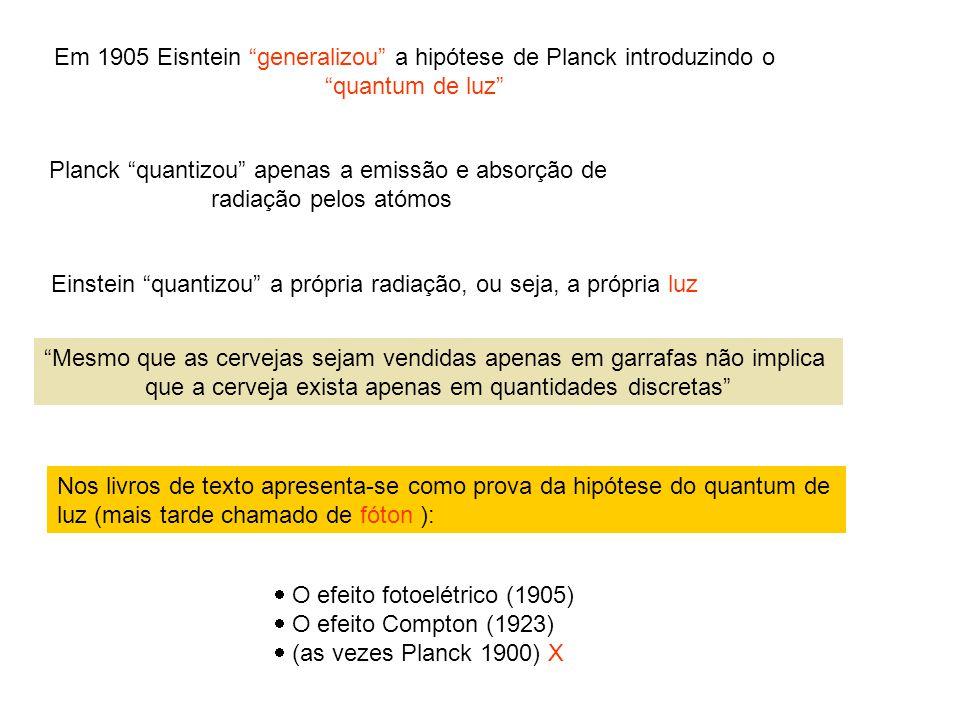 Em 1905 Eisntein generalizou a hipótese de Planck introduzindo o
