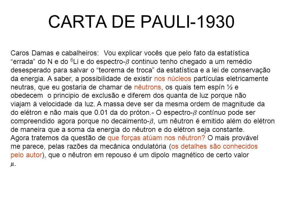 CARTA DE PAULI-1930 Caros Damas e cabalheiros: Vou explicar vocês que pelo fato da estatística.
