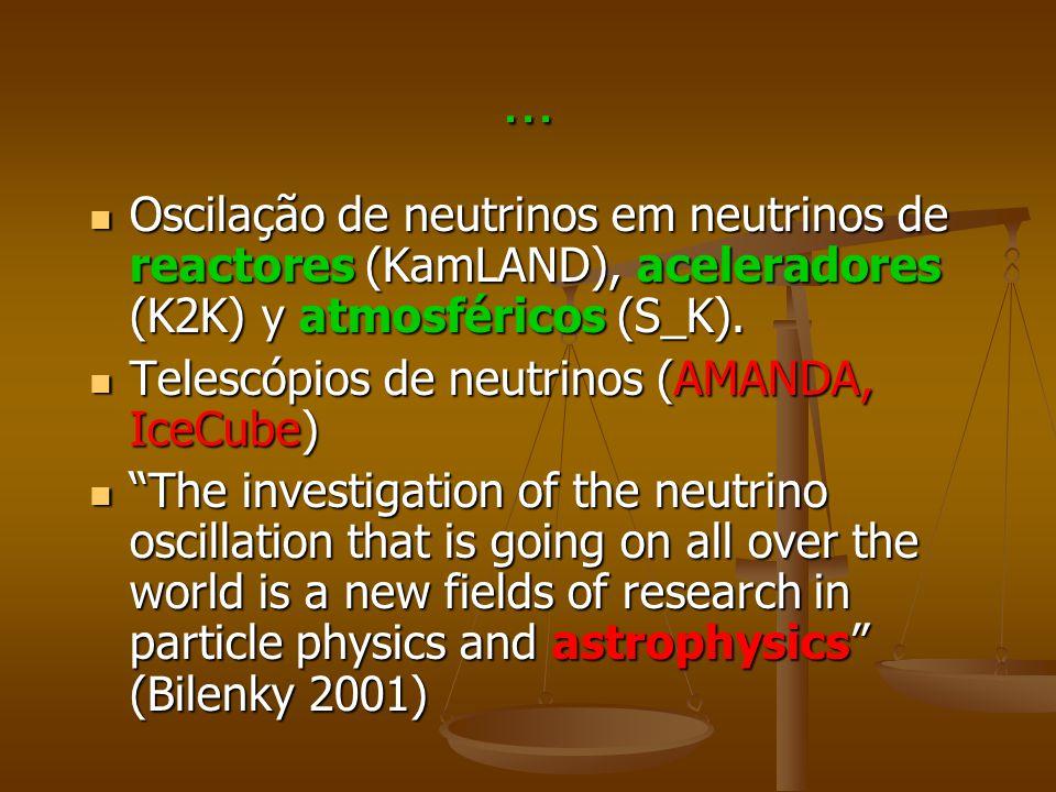 ... Oscilação de neutrinos em neutrinos de reactores (KamLAND), aceleradores (K2K) y atmosféricos (S_K).