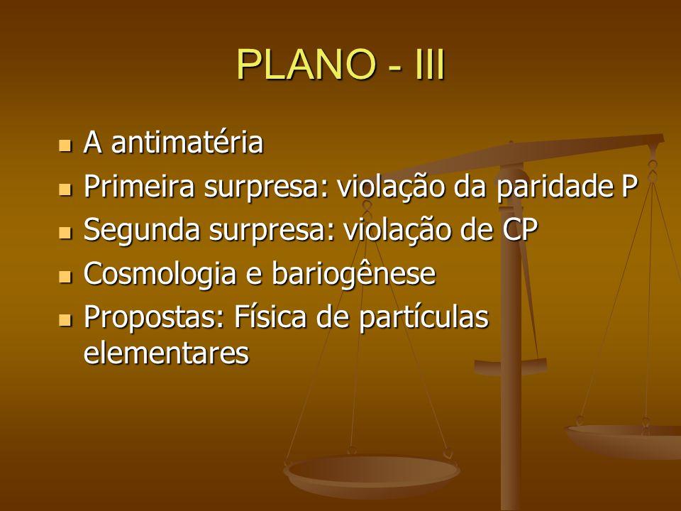 PLANO - III A antimatéria Primeira surpresa: violação da paridade P