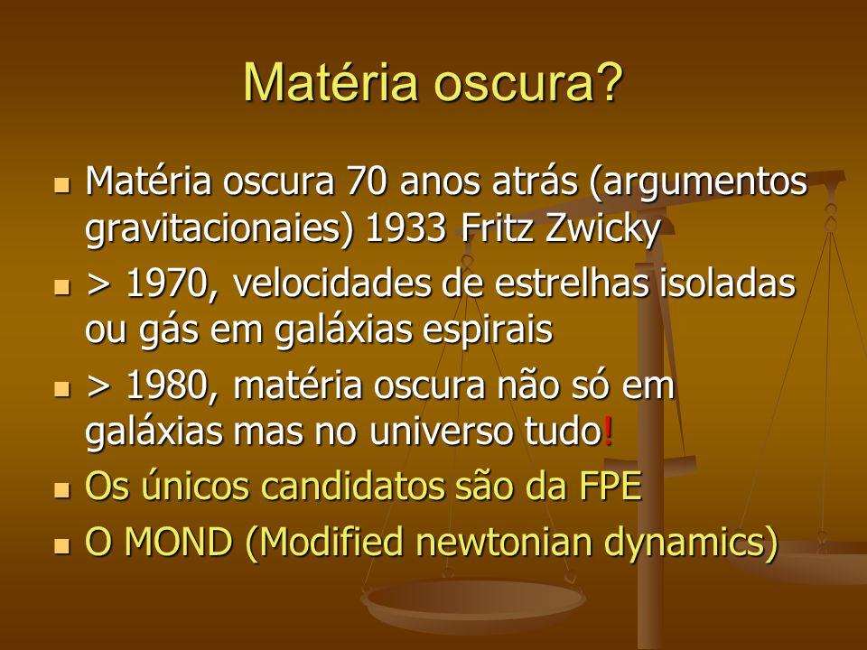 Matéria oscura Matéria oscura 70 anos atrás (argumentos gravitacionaies) 1933 Fritz Zwicky.