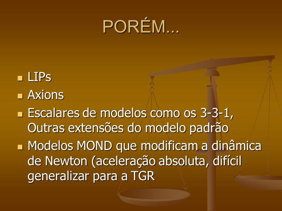 PORÉM... LIPs. Axions. Escalares de modelos como os 3-3-1, Outras extensões do modelo padrão.