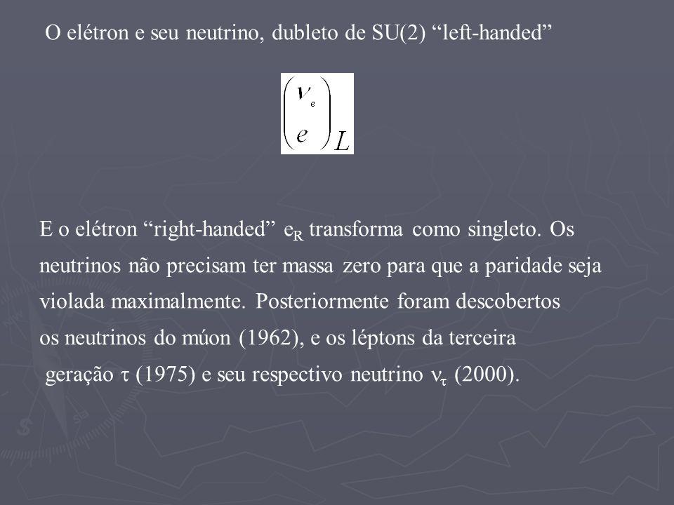 O elétron e seu neutrino, dubleto de SU(2) left-handed