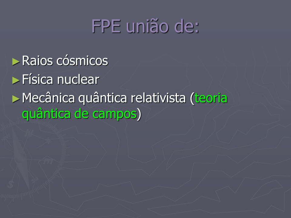 FPE união de: Raios cósmicos Física nuclear