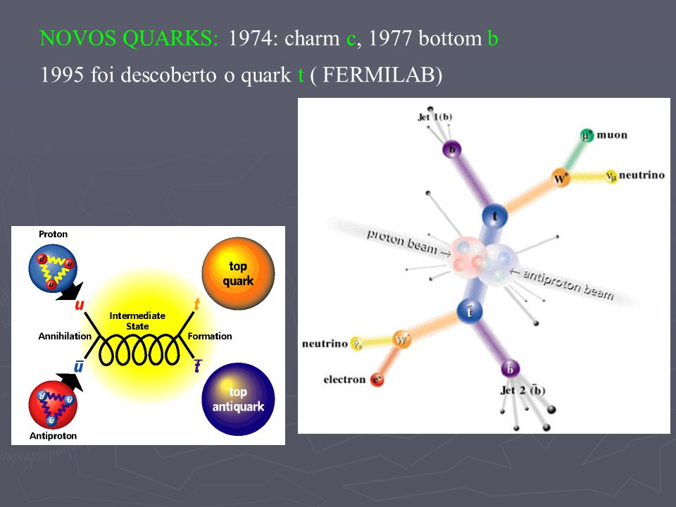 NOVOS QUARKS: 1974: charm c, 1977 bottom b
