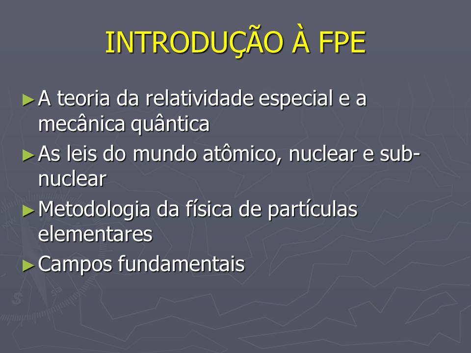 INTRODUÇÃO À FPE A teoria da relatividade especial e a mecânica quântica. As leis do mundo atômico, nuclear e sub-nuclear.