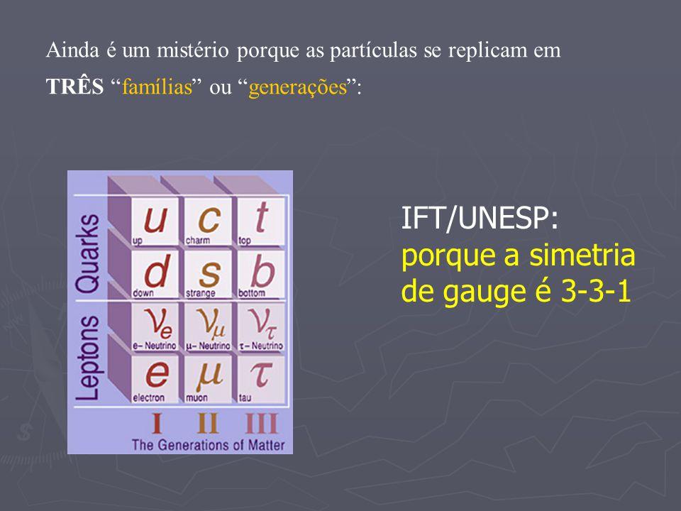 IFT/UNESP: porque a simetria de gauge é 3-3-1