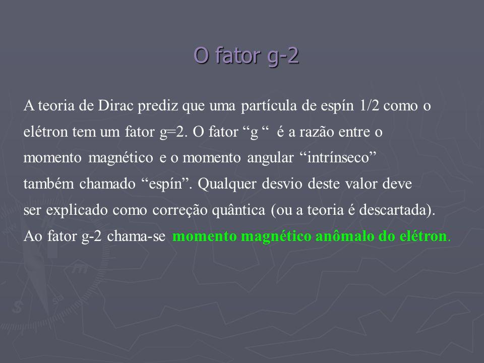 O fator g-2 A teoria de Dirac prediz que uma partícula de espín 1/2 como o. elétron tem um fator g=2. O fator g é a razão entre o.