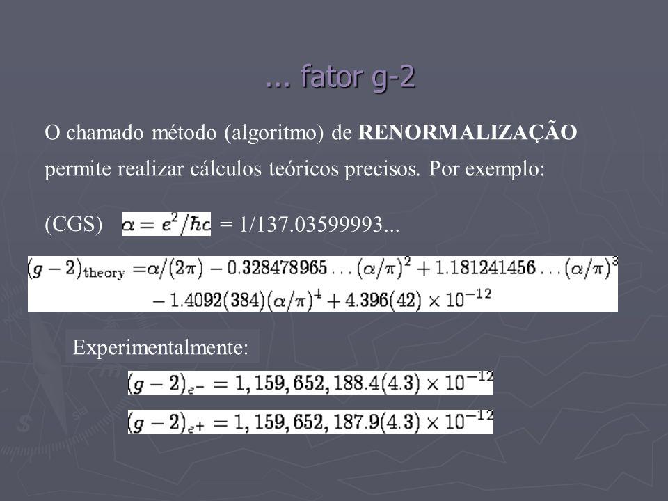 ... fator g-2 O chamado método (algoritmo) de RENORMALIZAÇÃO